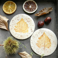 Ceramic Leaves Coasters OOAK  Ginger Brown Dotty Round Kitchen Accessories  Set of 2