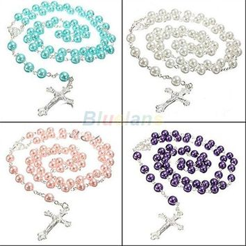 LMFUG3 Long Rosary Chain Imitate Pearl Ball Beads Pendant Necklace Silver Drop Cross = 1946739908