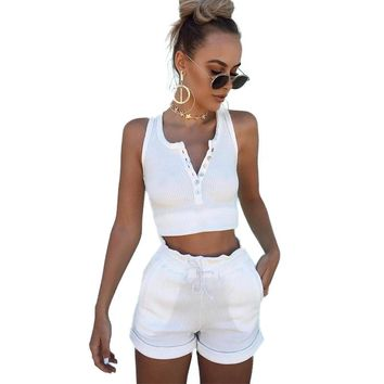 2017 Summer 95% Cotton Women Set Two Piece Set Top And Pants Colorful Button crop top moletom feminino ensemble drawstring 1560
