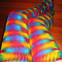 Tie Dye Psychedelic Thigh High Dance Socks - Hula Hoop - Burning Man Festival Leg Warmers