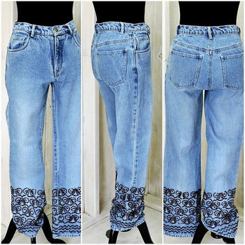 "Super cool 80s beaded jeans / size 6 / high waisted / vintage / retro / boho / hippie / 28"" waist / 28 X 29"