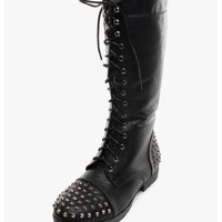 Black Love Is A Battle Field Studded Combat Boots | $14.50 | Cheap Trendy Boots Chic Discount Fashio