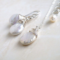Wedding Jewelry Bridal Pearl Earrings Necklace Set Coin Pearl Wire Wrapped Sterling Silver GemE5Set
