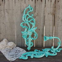 Candle Sconces, Shabby Chic, Tiffany Blue, White, Vintage, Syroco, Upcycled, Ornate, Baroque, Hand Painted