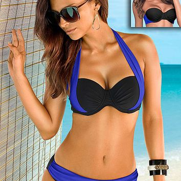 Color block bra top, color block mid rise Swimsuit