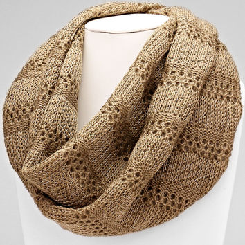 Knitted Infinity Beige Winter Scarf