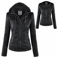 New Stunning Women's Stylish Slim Removable Hooded Leather Jackets