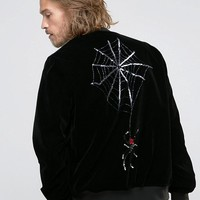 ASOS Velvet Souvenir Jakcet With Spider Embroidery at asos.com