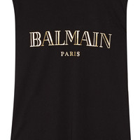 Balmain - Embellished printed cotton-jersey top