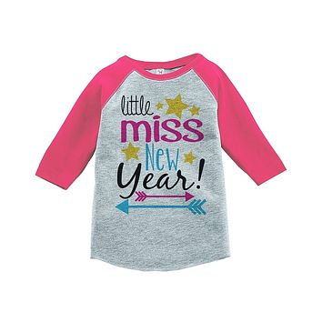 Custom Party Shop Kids Little Miss New Year Raglan Shirt