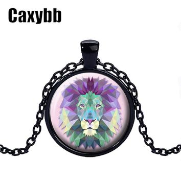 Gaxybb Black Animal necklace fox deer tiger owl dog wolf Animal orangutan koala bear Lovely glass necklace accessories for women