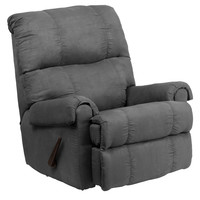 Contemporary Flat suede Graphite Microfiber Rocker Recliner