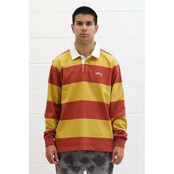 Classic Stripe Rugby Polo in Mustard