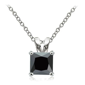 925 Sterling Silver 3ct Black Cubic Zirconia 8mm Square Solitaire Necklace
