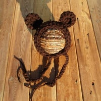 Brown Newborn Chunky Bear Bonnet Hat Photography Prop
