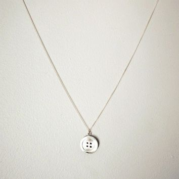 Silver Button Necklace - Handmade Pendant with Chain in Sterling Silver - Arts & Crafts - Gift for the Crafty Person
