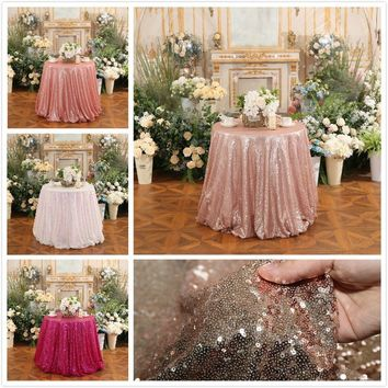 Fashion Brightly 50inch(127cm) Diameter Round Sequins Decoration Tablecloth Table Linen Party Celebration Festival Wedding Suppl
