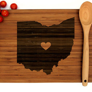 Personalized Wedding Gift, Custom Engraved Wood Cutting Board, Ohio State Map, Heart, Anniversary Gift, Bridal Shower, Father's Day Gift