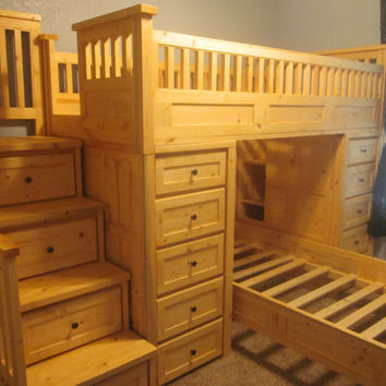 Large twin over twin loft bed with tons of storage