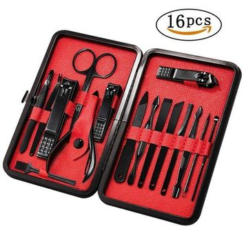 DCCKV2S Mens Manicure Set - Mifine 16 In 1 Stainless Steel Professional Pedicure Kit Nail Scissors Grooming Kit with Black Leather Travel Case (Red)