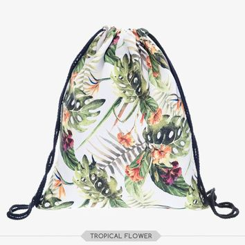 new Classic Tropical Flower Drawstring Backpack