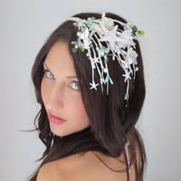 Wedding Crown Mermaid White Pearl - ANAHITA - Goddeess of Water Cascade, Starfish, Tiara, wedding hair, hair accessory, nautical