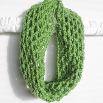 Crochet Fishnet Cowl Scarf Neck Warmer in Lime Green, vegan, ready to ship.