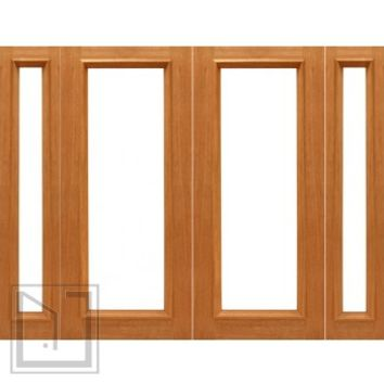 Pre-hung 1-lite-R/M French Brazilian Mahogany IG Glass Double Door Side lights