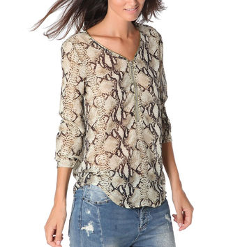 Brown animal print blouse with zip trim to front