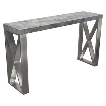 Carrera Console Table in Faux Concrete Finish with Brushed Stainless Steel Legs