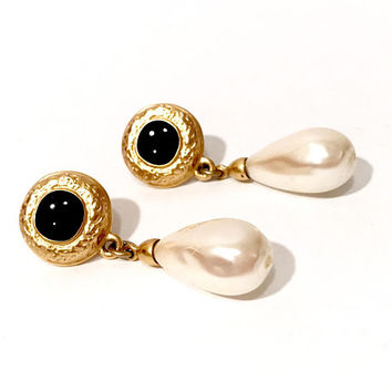 "Baroque Pearl Dangle Earrings, Gold Tone Pierced Style  Etched Raised Design Black Enamel  Center Signed Copyright  ""C"" Vintage 1970s 1980s"