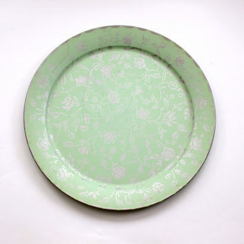 mint green serving tray // extra large round tin // vintage silver and teal tray