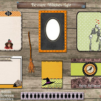 Halloween Journal Spots Witch Broom Skeletons Hats Owls Photo Frame Printable Digital Collage Sheet Junk Journals Scrapbooking Mini Albums