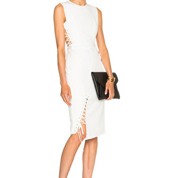 Izzy White Lace Up Bandage Dress