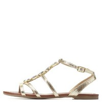 Gold Gem-Embellished Strappy Flat Sandals by Charlotte Russe