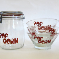 Vintage Glass Popcorn canister and 3 small Bowls