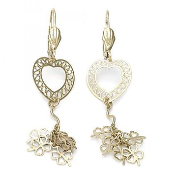 Gold Layered 02.63.0617 Dangle Earring, Heart and Flower Design, Diamond Cutting Finish, Gold Tone