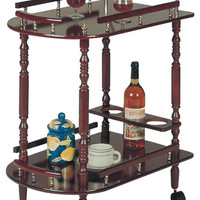 Coaster 3512 Serving Cart with Brass Accents in Cherry Finish - transitional - bar carts - other metro - by Cymax