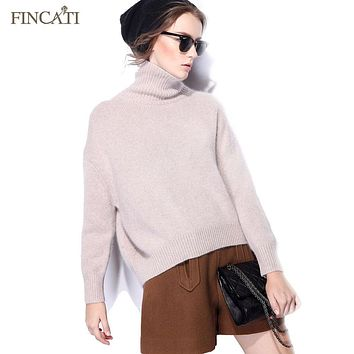 Women Cashmere Sweater Runway 2018 Winter Spring Casual Cashmere Wool Turtleneck Thicken Knitted Pullover Pulls Femme