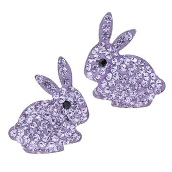 925 Sterling silver bunny rabbit stud earrings austrian crystal easter jewelry gifts for women girls her ping HE04