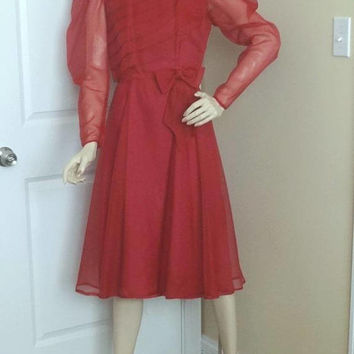 1970s Bridesmaid, Mother of Bride Dress in Burgundy, Size 10, Organza & Taffeta, Vintage Clothing, 1970s Fashion, Vintage Formal Clothing