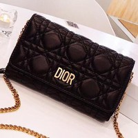 DIOR New fashion leather chain high quality shoulder bag women Black