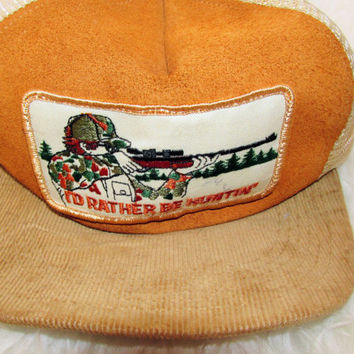 Vintage I'd Rather Be Hunting Corduroy Snapback Hat