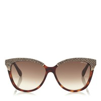 Havana Python Leather and Gold Metal Sunglasses| Ines | Eyewear Collection | JIMMY CHOO Accessories