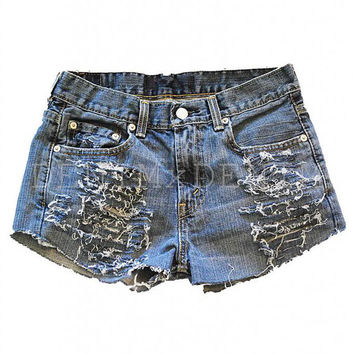 Studded Vintage Levi's High Waisted Jean Shorts Destroyed Ripped Women
