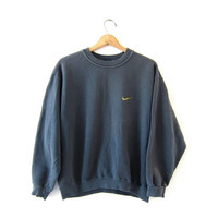 vintage NIKE coed sweatshirt. faded black - green sweatshirt. boxy loose fit slouchy sweatshirt.