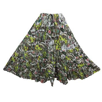 Mogul Interior Womens Gypsy Summer Flared Skirt Green Printed Crinkle Cotton Flirty Long Skirts Large: Amazon.ca: Clothing & Accessories