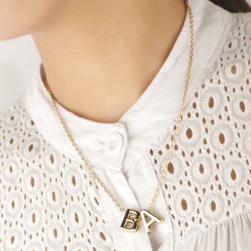 Shiny Gift New Arrival Jewelry Stylish Accessory Simple Design Alphabet Necklace [10688847559]