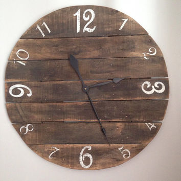 "26"" Rustic Pallet Clock made from reclaimed wood"