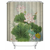 Large Lotus Leaf With Pink and Yellow Blossom Shower Curtain